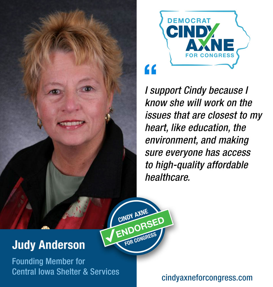 Judy Anderson - Founding Member for Central Iowa Shelter & Services